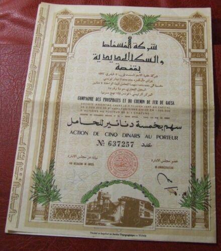 COMPAGNIE DES PHOSPHATES ET CHEMIN DE FER GAFSA action 5 DINARS bonds 1897 TUNIS