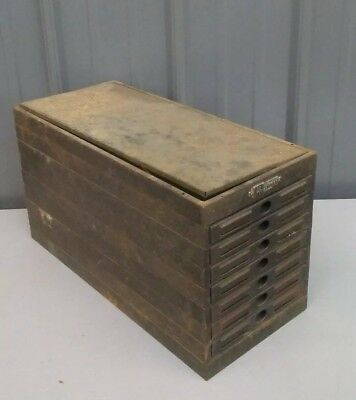 Super Rare Vintage Victor 7 Drawer Metal File Cabinet