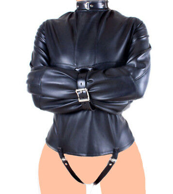 Straight Jacket Halloween Costume BODY HARNESS Leather  Restraint Arm binder (Straight Jacket Halloween Costume)
