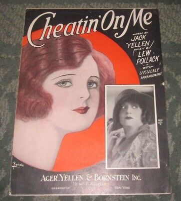 1925 CHEATIN/' ON ME Sheet Music HEALY /& CROSS by Pollack Yellen