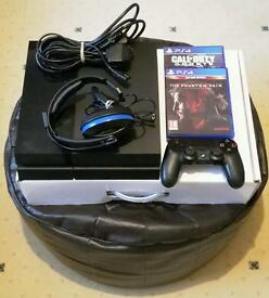 PS4 with controller, 2 games and headset