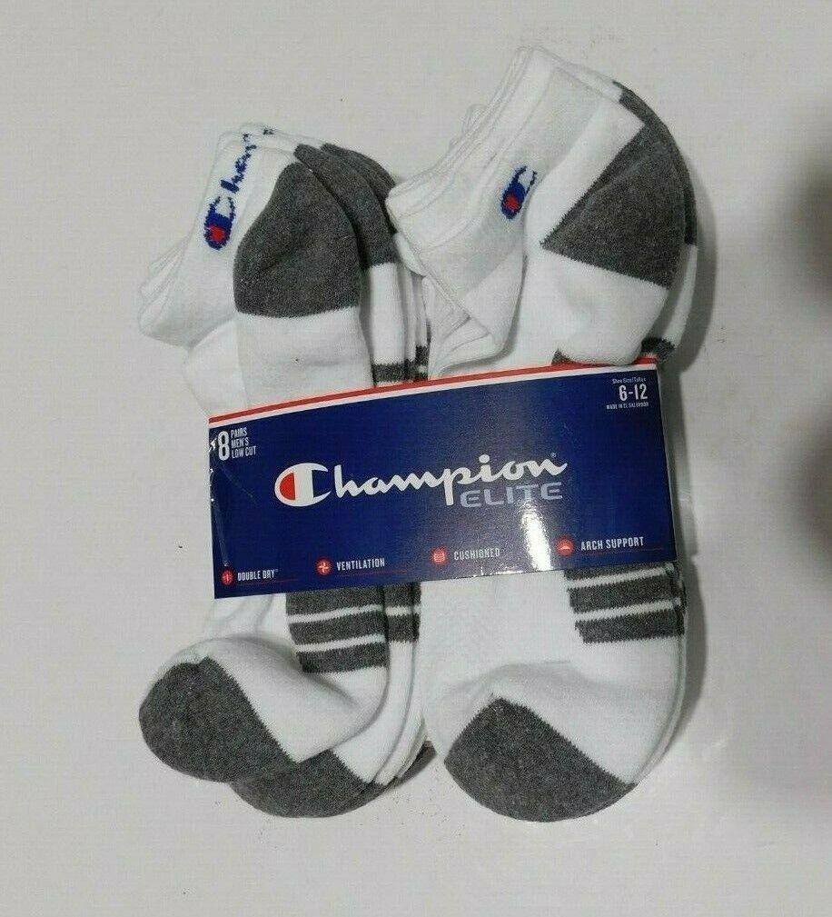 Champion Elite Mens 7 Pack Gray White Low Cut Socks  Blend