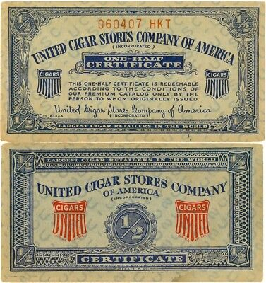 United Cigar Stores Company of America 1/2 Certificate - Lot of 12 Coupons](Party Store Coupons)