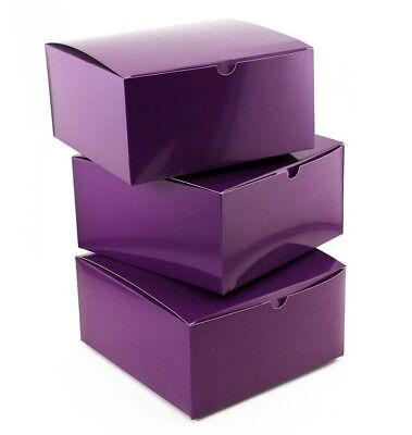 10pc Holiday Christmas 8 x 8 x 4 inches Purple Paper Gift Boxes with Lids