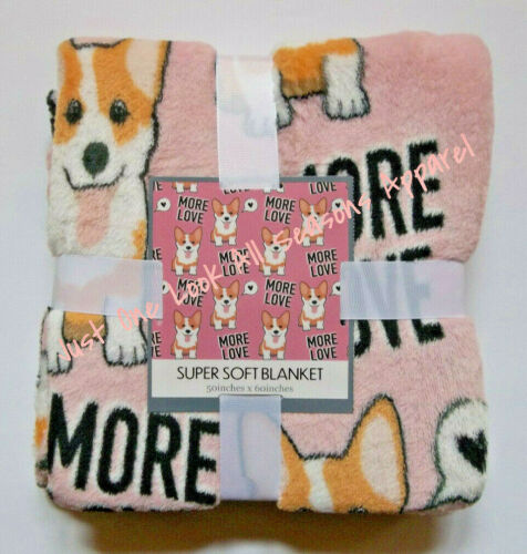 "More Love Corgi Super Soft  Blanket 50"" x 60"" ~ New"