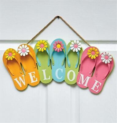 Outdoor Welcome Sign - INDOOR OUTDOOR FUN IN THE SUN FLIP FLOP SHAPED WELCOME SIGN DOOR WALL HANGER