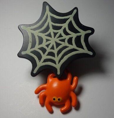 Hallmark Halloween 1988 Mechanical Spider Web w Spider Lapel Pin Glows In Dark