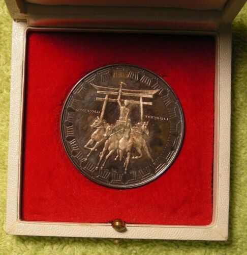 Official Medal of 1964 Tokyo Olympic games Silver in box horses and chariot