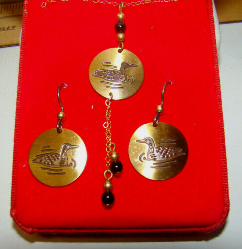 """14KGF Etched LOON & Beads 22"""" (16"""" Opening) Necklace & Earring Set Pre-Owned"""