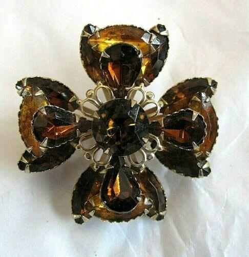 Gorgeous Rare prong set rhinestone Topaz Maltese Cross Brooch Pin