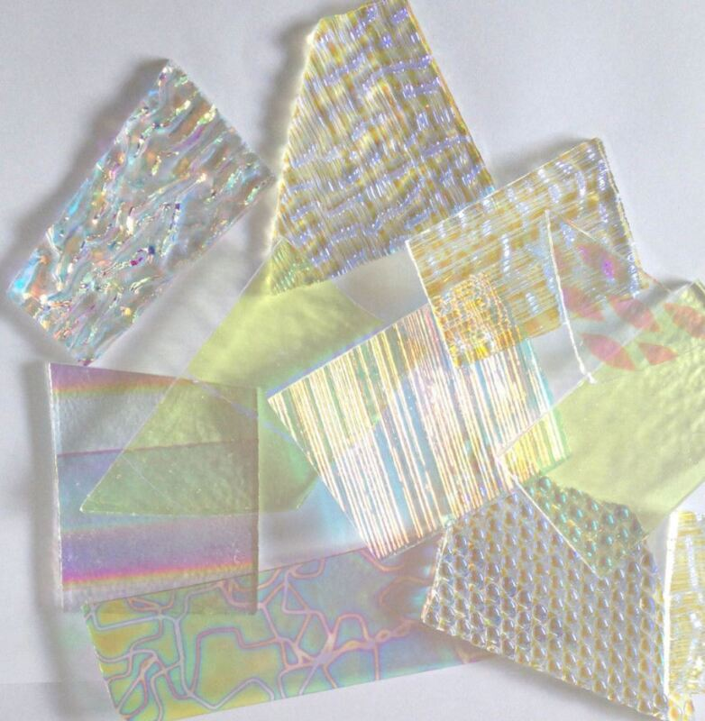 3 oz Dichroic Scrap Glass 90COE on CLEAR 1 Inch+ size pieces - Fuse Glass coe 90