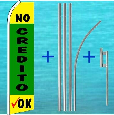 No Credito Ok Flutter Flag Pole Mount Kit Tall Feather Swooper Banner Ad Sign