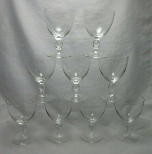 Vintage Clear Glass Crystal Wine Glasses Tear Drop Ball Stem V Shape Set of 9
