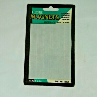 Flexible Magnets Magnetic Tape 6 Pieces - 12 X 4 Long With Adhesive Backing