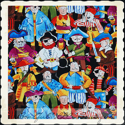 BonEful Fabric FQ Cotton Quilt Costume Pirate Boy Hat Boat Sword Band*ana Bird S