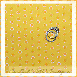 BonEful-Fabric-FQ-Cotton-Quilt-S-Yellow-Orange-Dot-Flower-Daisy-Sunflower-Stripe
