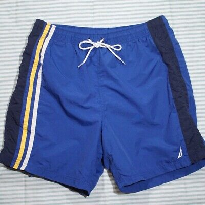Nautica Men's XL Swim Trunks Striped Board Shorts Embroidered Blue Mesh Lined