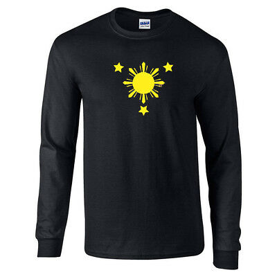 Philippine Flag Shirt Philippines Long Sleeve T-Shirt  - Sleeve Flag Shirt