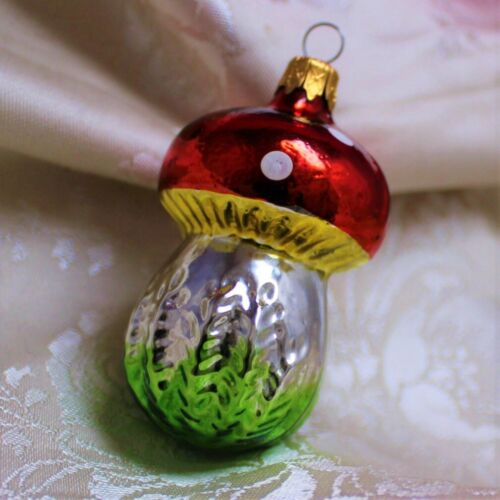 Kurt Adler Mushroom Christmas Ornament Part of Set Vibrant Blown Glass Toadstool