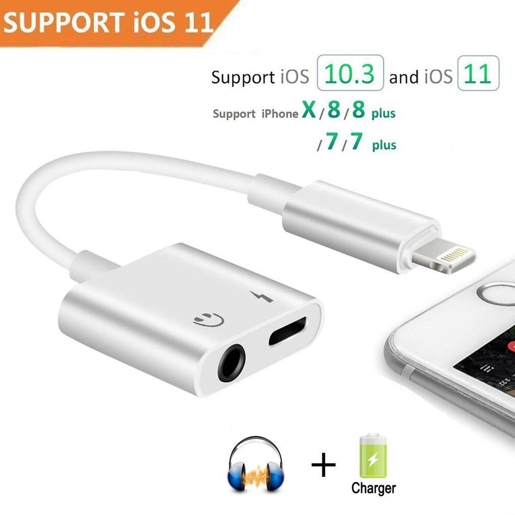 2in1 Dual Lightning Adapter Splitter Audio Earphone AUX Charger For Apple iPhone Cables & Adapters