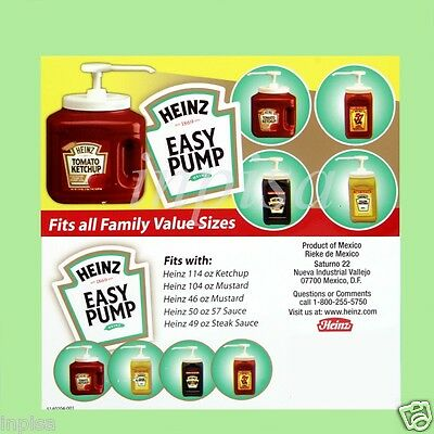 Heinz 6 Easy Pump Dispenser For 49oz - 114oz Ketchup Mustard Mayo Sauce