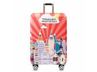 Suitcase cover - small / cabin size - (travel the world design) BRAND NEW