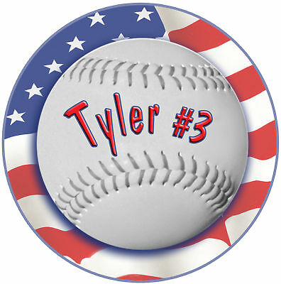 Baseball Usa Flag Round Mouse Pad Personalize Any Name Or Text Team Sports