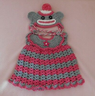 American Girl Doll Clothes Pink Sock Monkey Dress & Hat Fit American Girl 18