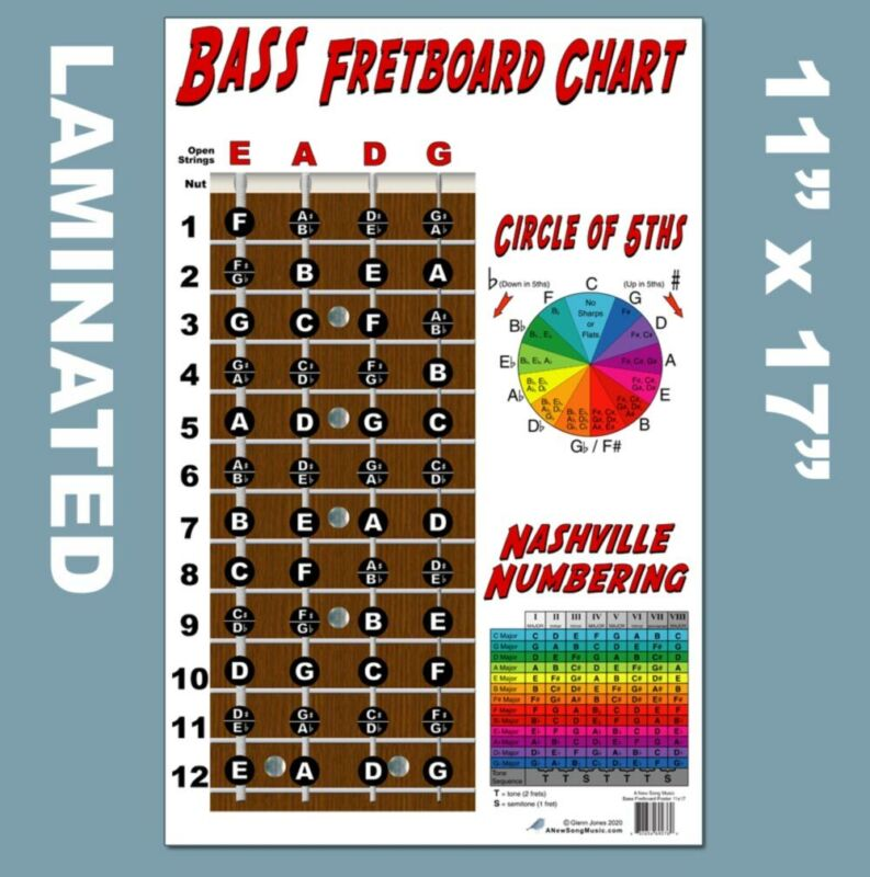 LAMINATED 4 String Bass Fretboard Chart Poster Nashville Numbering Theory