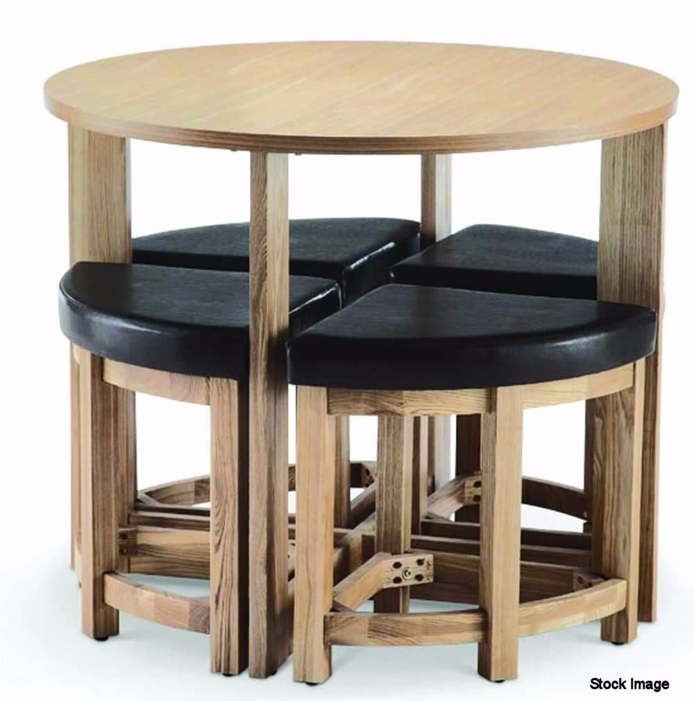STOWAWAY Round Dining Table And 4 Stools Set in Oak. RRP £149  sc 1 st  Gumtree & STOWAWAY Round Dining Table And 4 Stools Set in Oak. RRP £149 | in ...