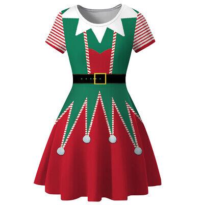 Elf Shorts Costume (Christmas Elf Dress Women Short Sleeve Skirt Costume Digital Print Xmas Cosplay)