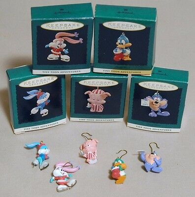 5 Tiny Tunes Hallmark Keepsake Ornaments Pig Bunny Duck 1994 Original Boxes Lot