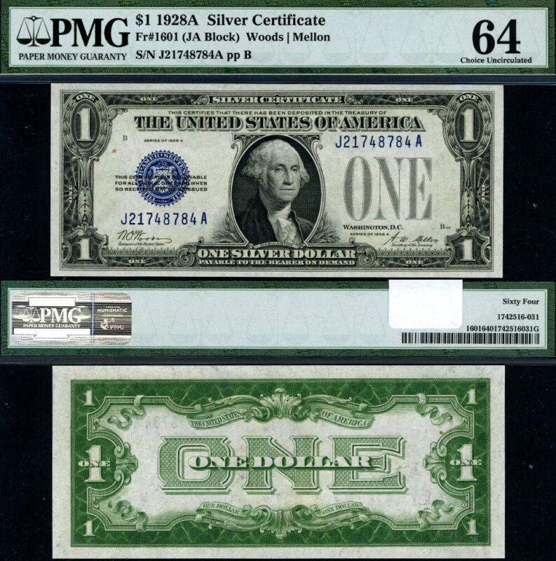 FR. 1601 $1 1928-A Silver Certificate J-A Block Choice PMG CU64