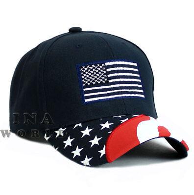 USA American Flag hat Stars and Stripes Flag bill Cotton Baseball cap- Navy Blue