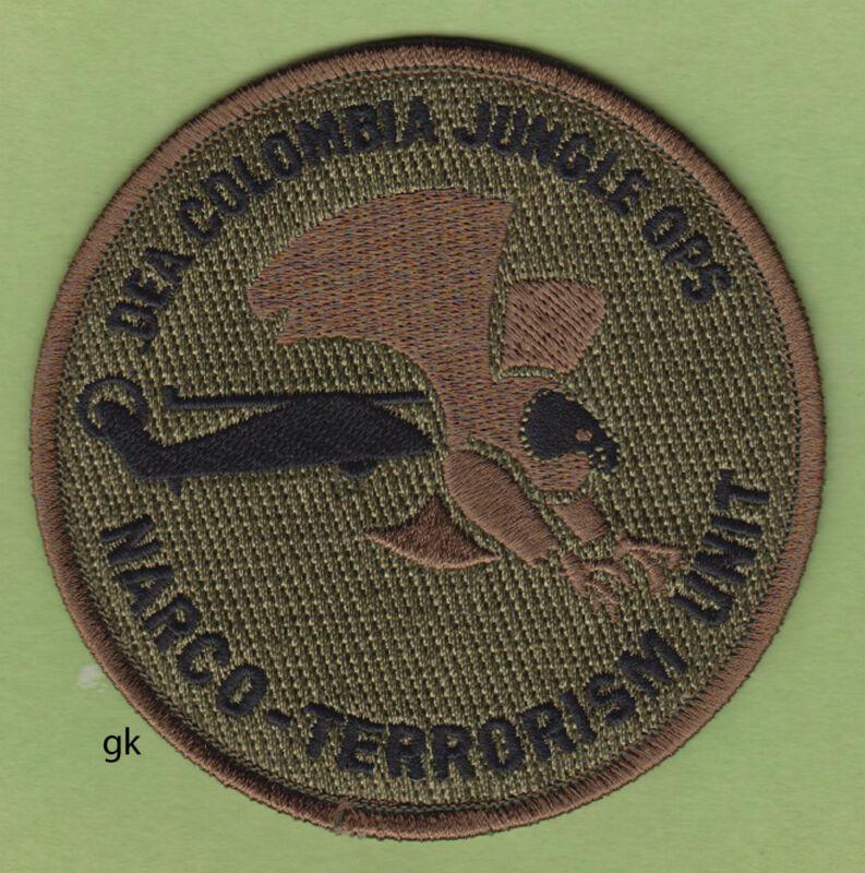 DEA  DRUG ENFORCEMENT COLOMBIA NARCOTICS TERRORISM UNIT SHOULDER PATCH (Subdued)