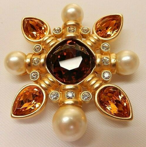 Signed Swarovski Citrine Crystal Maltese Cross Brooch Faux Pearl Gold Plated