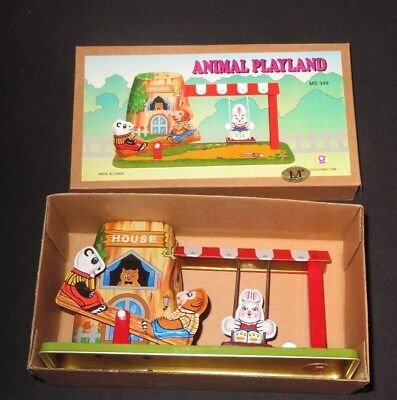 - WIND-UP TIN-LITHO Toy Animal Playland Rabbit Swing Teeter Totter w/ BOX (m632)