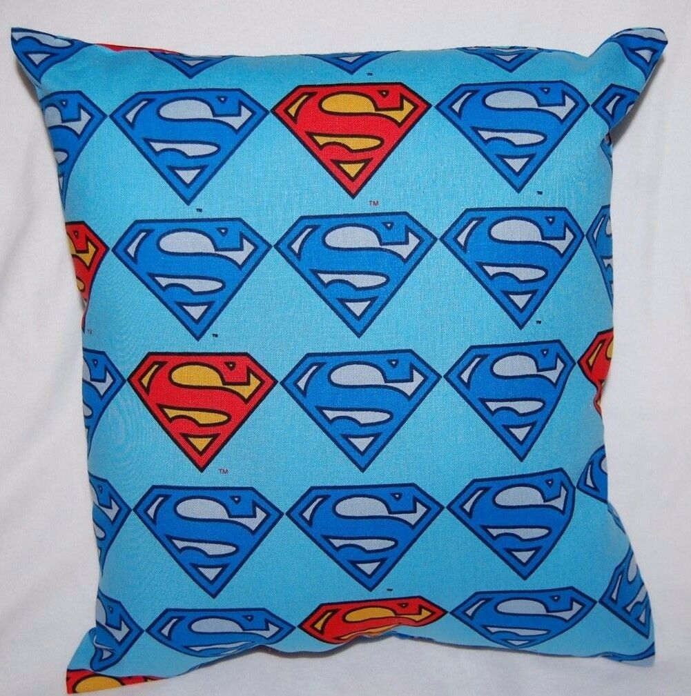 NEW HANDMADE SUPERMAN SYMBOL BLUE SUPERHERO TRAVEL/ TODDLER/ BED/ CAR PILLOW
