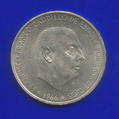 100 Ptas-Silber-Münze-Spanien-1966-19,4 Gramm Silber-