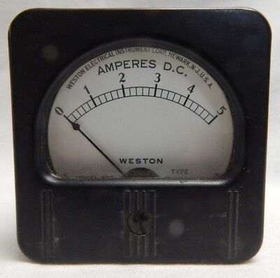 Vintage Panel Gauge Dc Amperes 0-5 The Weston Electrical Corp Amps Model 506