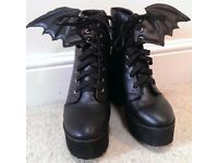 IRON FIST BAT WING BOOTS UK 8/EUR 42 * WORN ONCE * EMO GOTH * VEGAN * SOLD OUT EVERYWHERE!