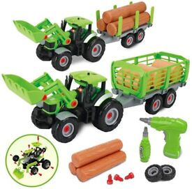 Tractor Farm Truck Toys with Electric Drill Tool Car Toy For Boys, light & Sound