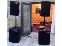 Speakers microphones sound PA system hire
