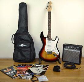 LA Electric Guitar (Sunburst), Amp Pack, carry case, strap, strings, tuner, lead, books and picks!!