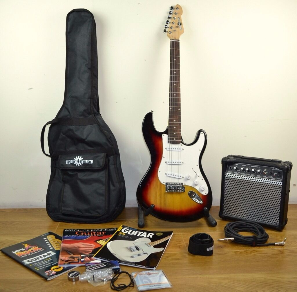 la electric guitar sunburst amp pack carry case strap strings tuner lead books and. Black Bedroom Furniture Sets. Home Design Ideas