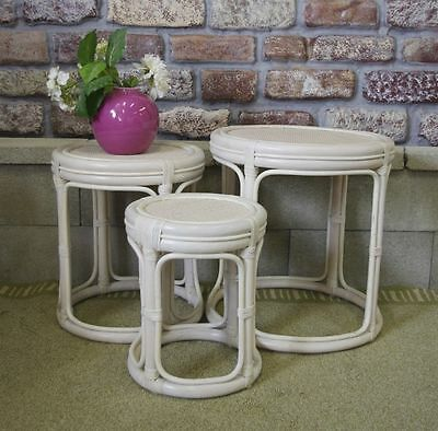 Rattan & Wicker Drum Nesting Tables 3 pc. Set, Whitewash