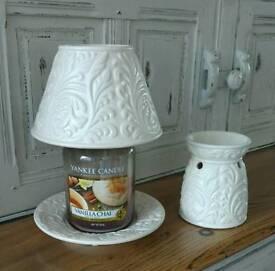 Large Yankee candle - saucer, shade and tart burner