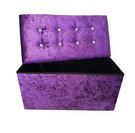 New PURPLE Maroon Diamante Crushed Velvet Double Folding Storage Ottoman Seat Box Pouffee Stool