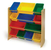 Toy bin rack and toys