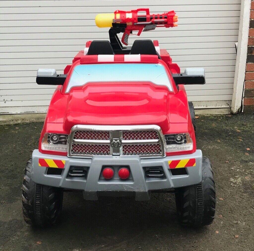 2 Seat Kids Electric Dodge Ram Ride On Fireman Fire Engine